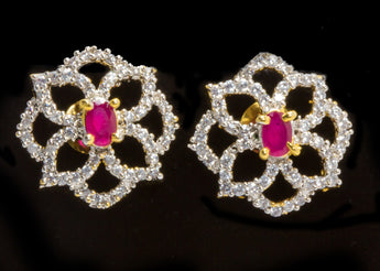 Latest Designer American Diamond Ear Tops Designs Ruby Stud Earrings for Women & Girls