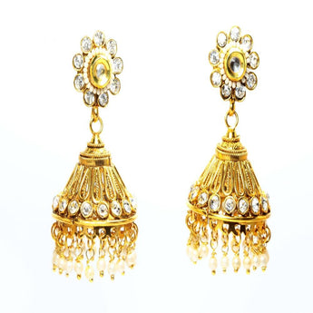 Beautiful Pair of Studded Polki Earrings - My Aashis