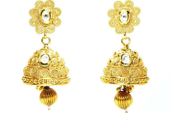 18k Goldplated Indian Earring With Polki - My Aashis