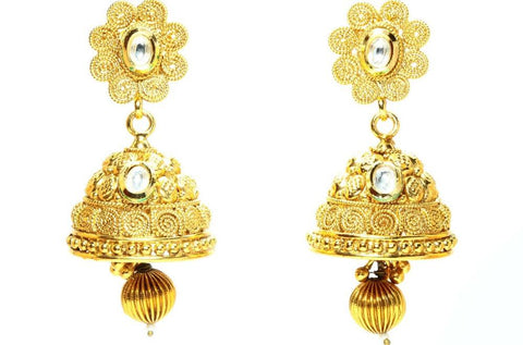 Antique Style Polki 18K Gold Plated Earrings - My Aashis
