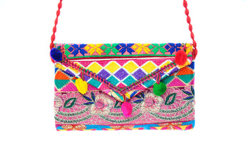 Ethnic Multicolor Pom Poms Embroidered Clutch Wristlet For Women - My Aashis