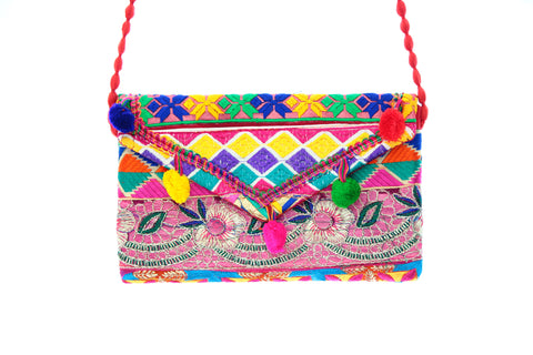 Ethnic Multicolor Pom Poms Embroidered Clutch Wristlet For Women
