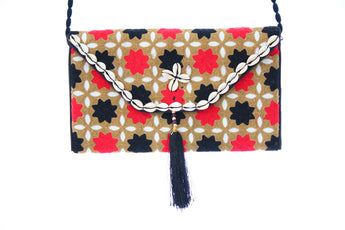 Ethnic Multicolor Tassled Embroidered Clutch Wristlet For Women