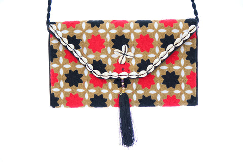 Ethnic Multicolor Tassled Embroidered Clutch Wristlet For Women - My Aashis