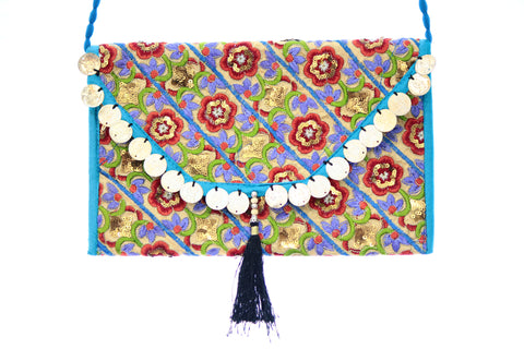Ethnic Multicolor Tusseled Sequenced Embroidered Clutch Wristlet For Women