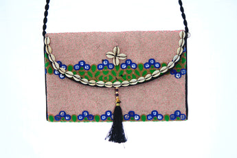 Ethnic Multicolor Tasseled Embroidered Clutch Wristlet For Women