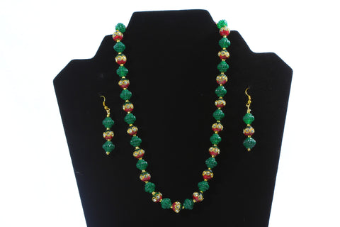 Green Pearls and Gold-Toned Jewellery Set