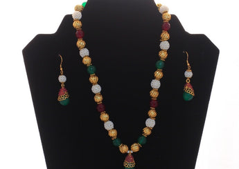 Beads and  Gold-Toned Necklace Set