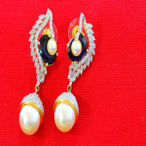 Stunning Piece of Studded American Diamond Pearl Earrings - My Aashis