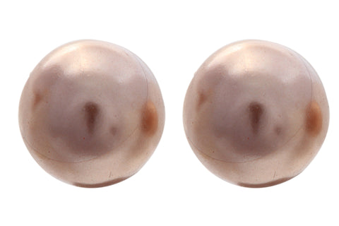 Sterling Silver  Brown Freshwater Cultured Button Pearl Stud Earrings