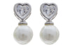 Women White 8-9mm Freshwater Pearl Heart Shape Zirconia Stud Earring Silver Color - My Aashis