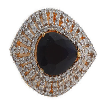 Adjustable Cocktail Stone Ring with Black Stone - My Aashis