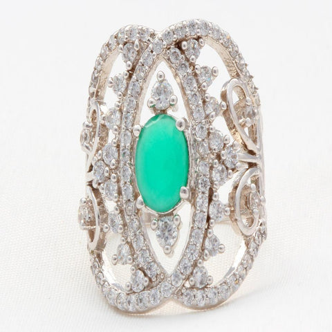Adjustable Oval Shape American Diamond Ring With Studed Green Stone