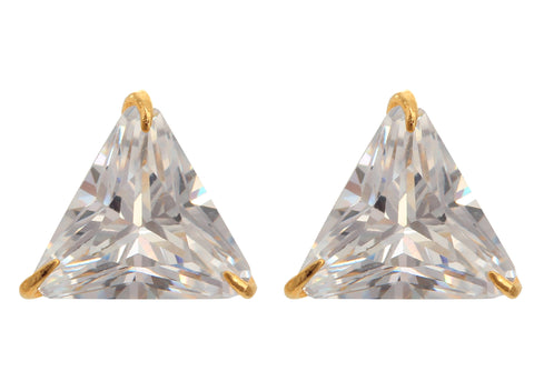 Triangle Cut Zircon Stud Earring with Gold finish