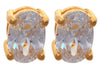 Oval Cubic Zirconia  Stones Gold-Tone Plated Earrings