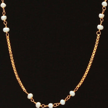 Creamy Champagne Colored Faux Pearl Gold Chain - My Aashis