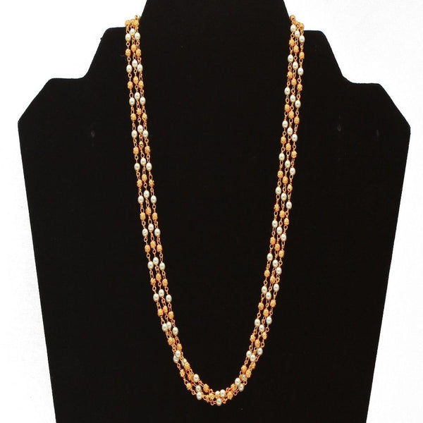 Elegant Gold Tone Simulated Pearl & Rhinestone Long Layered Fashion Necklace