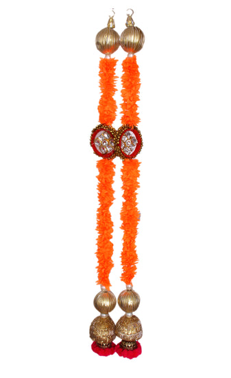 Bandhanvar Latkan Wall Hanging Door Hanging Artificial Flower with Hanging Pom Pom Door Bandhanwar For Diwali Event Parties Decoration Multi Color Pack of 2