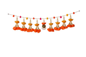 Bandhanvar Latkan Wall Hanging Door Hanging Artificial Flower with Hanging Pom Pom  For Diwali
