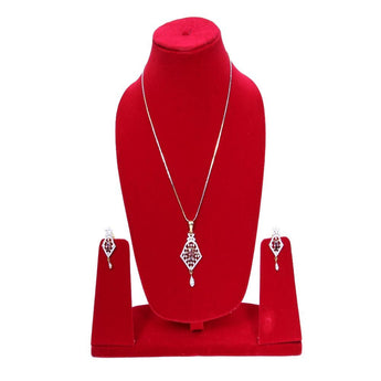 Gold-Plated Red Stone-Studded Earrings & Pendant Set with Chain
