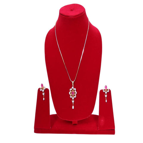 Beautiful Uncut American Diamond Pendant Set - My Aashis