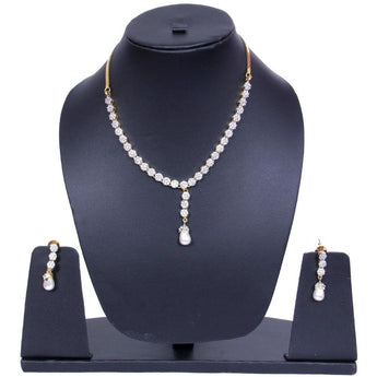Pearls and Silver-Toned Gold-Plated CZ Stone-Studded Jewellery Set