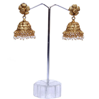 Shining Gold Look Pearl Earrings - My Aashis