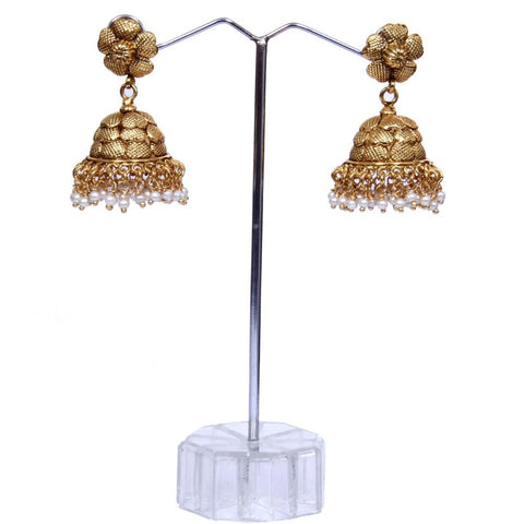 Fine gold look pearl Earrings - My Aashis