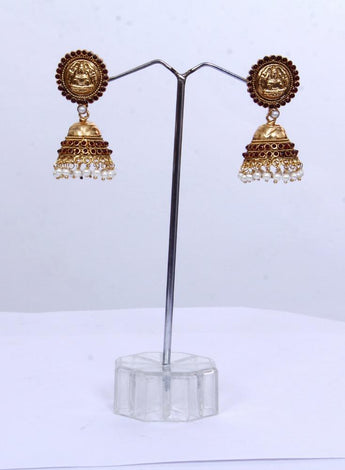 Royal Bloom Gold Finished Pearl Drop Earrings - My Aashis