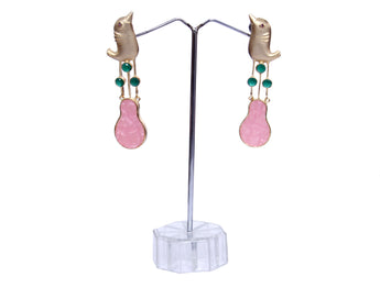 Rose Gold over Sterling Silver & Rose Quartz  Stone Drop Long Earrings