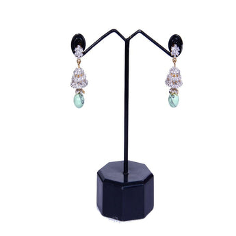 Fashionable Pair of Studded Zircon and Turquoise Stone Earrings - My Aashis