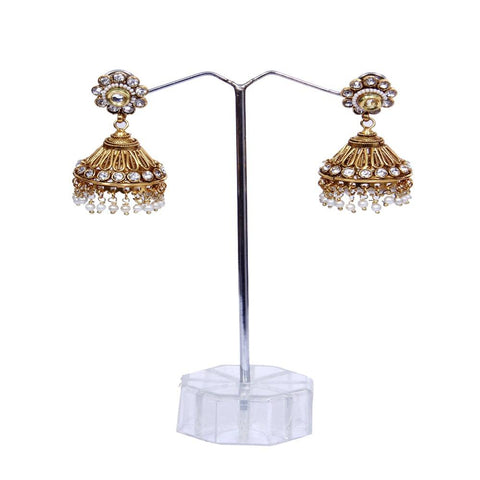 Amazing Stud Polki Earrings with Pearl work