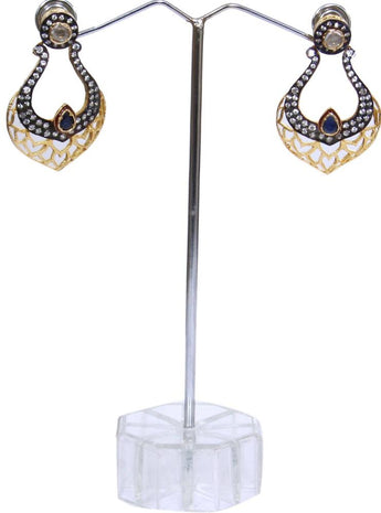 Antique Gold Color CZ Cubic Zirconia Drop Earrings - My Aashis