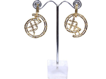 2 in 1 Gold Plated American Diamond Earrings