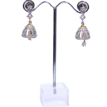 Gold colored Cubic Zirconia Brass Traditional Hanging Earring for women