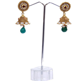 Fine Gold Look Pearl Work with Red and Green Stone Earrings