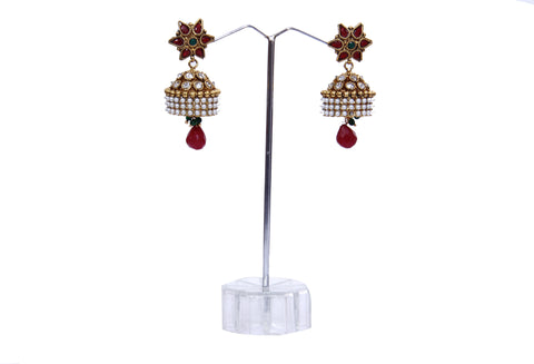 Red Flower Design Traditional Pearl Earrings - My Aashis