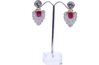 Diamond and Ruby Stylized Leaf Earrings