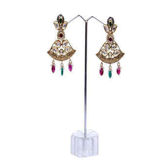Antique Copper Gold Earrings Work with White polki and Red Kundan Earrings