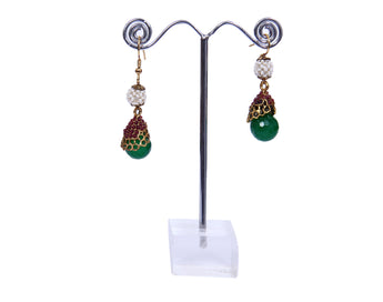 LATEST Multi color Stone Earrings Design with Green, White & Red Beads - My Aashis