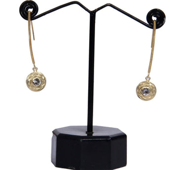 Trendy Style Gold Toned Onyx Studded Dangle Earrings - My Aashis