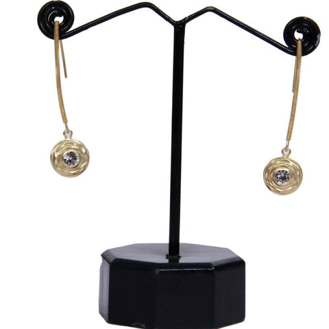 Gold Tone One Stone Onyx Studded Dangler Earrings
