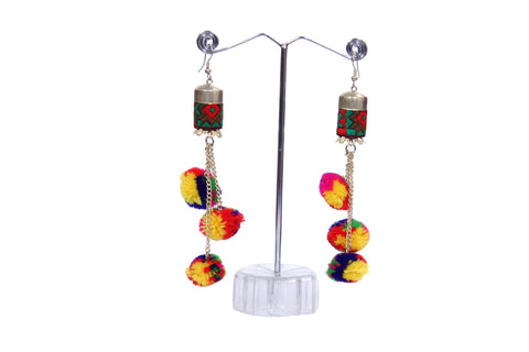 Multicolored Tasseled Pom-Pom Drop Earrings - My Aashis