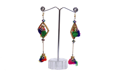 Multicolored Tasseled Drop Earrings - My Aashis