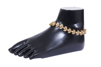 Youthful Gold Plated White Bead and Stone Studded Anklet