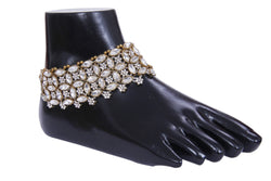 Indian Traditional Fashion Gold Plated Anklet Polki Payal Ethnic Jewelry for Women