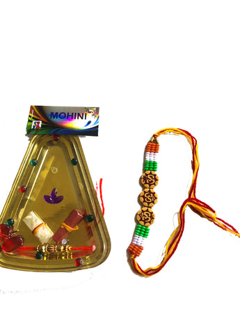 Set of 2 Rakhi and Small plate With Rice and Kumkum - My Aashis