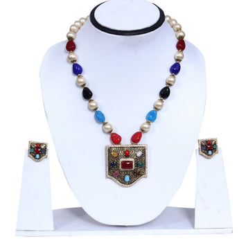 Colorful Rhinestone Faux Gemstone Pearl Cluster in Square shape Chunky  Necklace