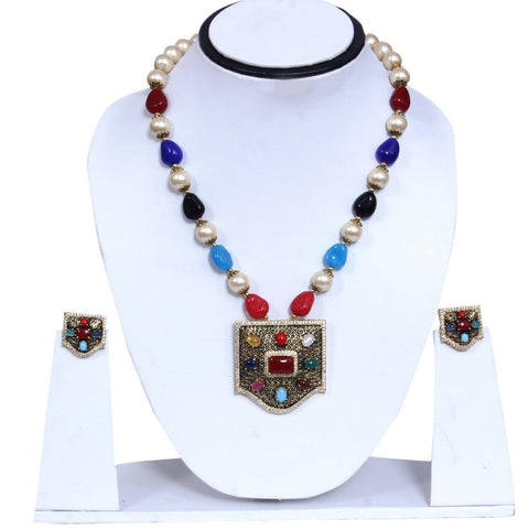 Vintage Style Colorful Rhinestone Pearl Studded Necklace Set - My Aashis