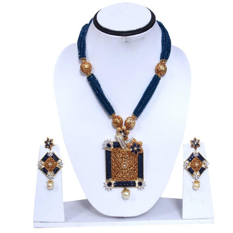 Gold Toned & Green Colored Embellished Beaded Necklace Set - My Aashis